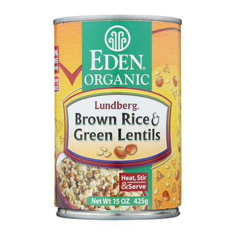 Eden Foods Brown Rice & Green Lentils - Case Of 12 - 15 Oz