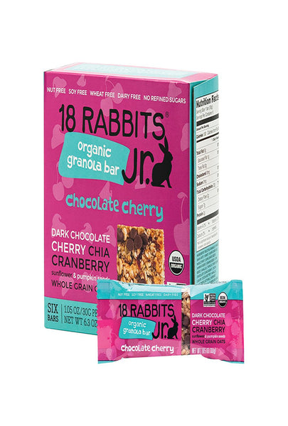 18 Rabbits Jr. Granola Bar - Chocolate Cherry - Case Of 6 - 1.05 Oz.