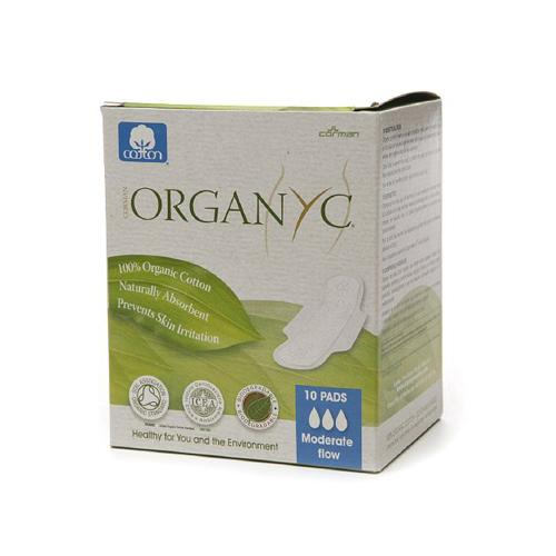 Organyc Cotton Feminine Day Pads - Folded With Wings - 10 Pack