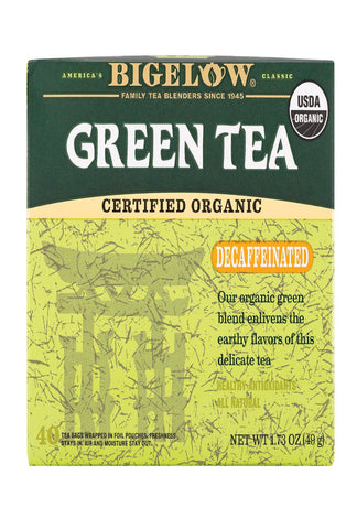Bigelow Tea Organic Green Tea - Decaf - Case Of 6 - 40 Bag