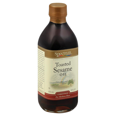 Spectrum Naturals Unrefined Toasted Sesame Oil - Case Of 12 - 16 Fl Oz.