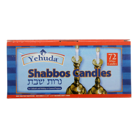 Yehuda Matzo Shabbos Candles - Case Of 8 - 72 Count