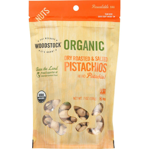 Woodstock Nuts - Organic - Pistachios - Dry Roasted - Salted - 7 Oz - Case Of 8
