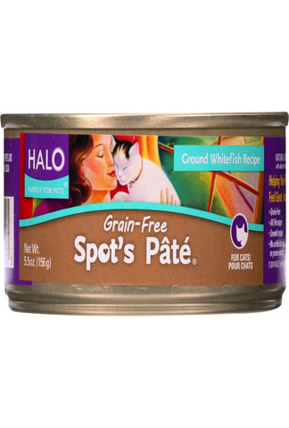 Halo Purely For Pets Cat Food - Spots Pate - Ground Whitefish - Grain-free - 5.5 Oz - Case Of 12