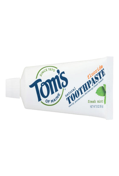 Tom's Of Maine Travel Natural Toothpaste - Fresh Mint, Fluoride - Case Of 24 - 3 Oz.