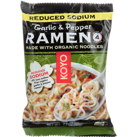 Koyo Ramen - Reduced Sodium Garlic Pepper - Case Of 12 - 2.1 Oz.