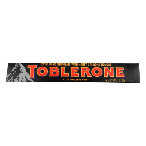 Toblerone, Sweet Dark Chocolate With Honey & Almond Hougat - Case Of 20 - 3.52 Oz