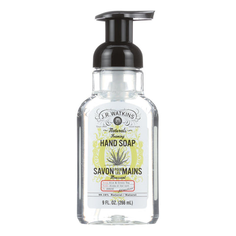 J.r. Watkins Hand Soap - Foam - Aloe & Green Tea - Case Of 6 - 9 Fl Oz
