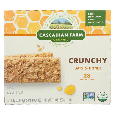 Cascadian Farm - Crunchy Granola Bars - Oat And Honey - Case Of 12 - 7.1 Oz.