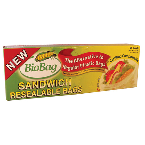 Biobag Resealable Sandwich Bags - Case Of 12 - 25 Count