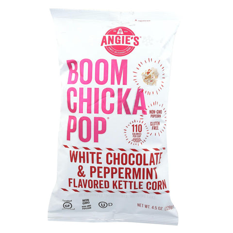 Angie's Kettle Corn  White Chocolate And Peppermint - Case Of 12 - 4.5 Oz