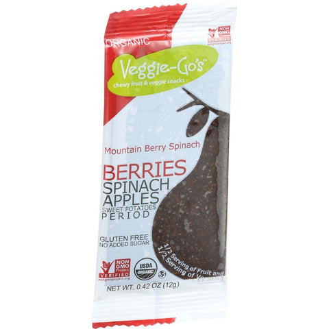 Veggie Gos Organic Snack - Mountain Berry Spinach - .42 Oz Bars - Case Of 20