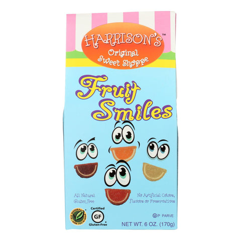 Harrisons Orig Swt Shoppe Harrison's Original Sweet Shoppe Fruit Smiles Candies Raspberry Orange Lime & Lemon - Case Of 12 - 6 Oz