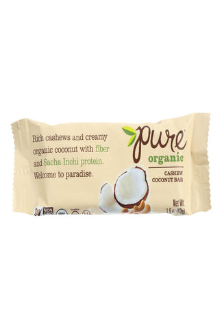 Pure Organic Pure Fruit And Nut Bar - Organic - Cashew Coconut - 1.5 Oz Bars - Case Of 12