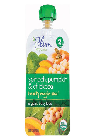 Plum Organics Second Blends Hearty Veggie Meal - Spinach, Pumpkin And Chickpea - Case Of 6 - 3.5 Oz.