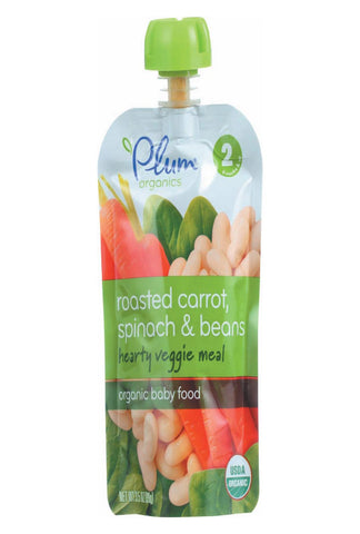 Plum Organics Second Blends Hearty Veggie Meal - Roasted Carrot, Spinach And Beans - Case Of 6 - 3.5 Oz.