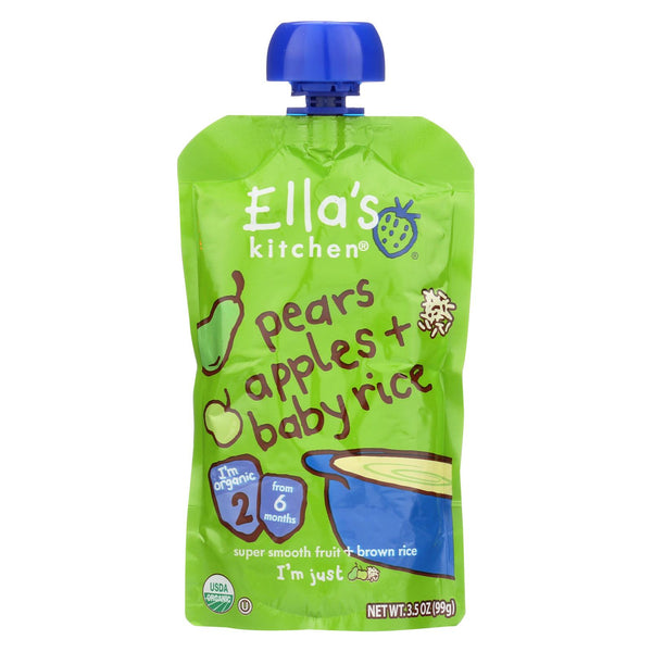 Ella's Kitchen Baby Rice - Pears Apples - Case Of 12 - 3.5 Oz.