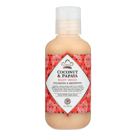 Nubian Heritage Polishing & Renewing Coconut & Papaya Body Wash Cleanses - Case Of 24 - 3 Fz