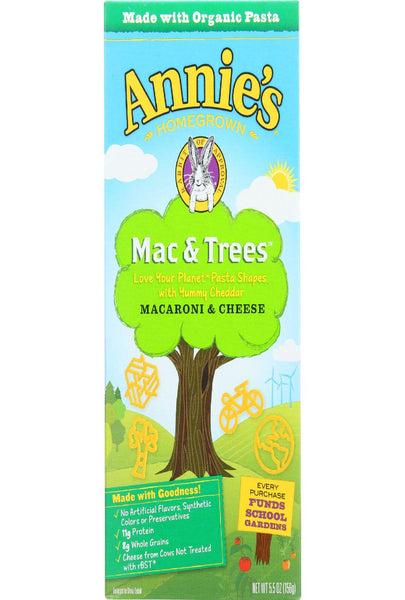 Annies Homegrown Macaroni And Cheese - Mac And Trees - 5.5 Oz - Case Of 12
