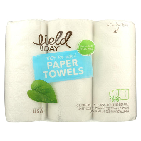 Field Day Paper Towels - Recycled - Case Of 4 - 6 Roll