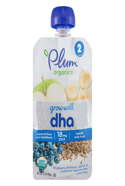 Plum Organics Grow Well Baby Food - Dha - Case Of 6 - 3.5 Oz.