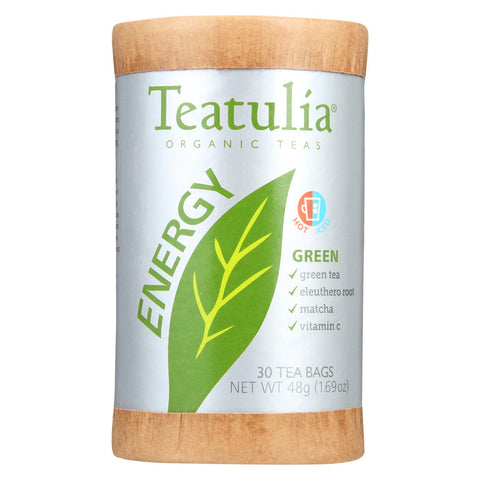 Teatulia Energy Tea - Organic - Green - Case Of 6 - 30 Bag