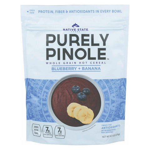 Purely Pinole Cereal - Blueberry And Banana - Case Of 6 - 9.7 Oz.