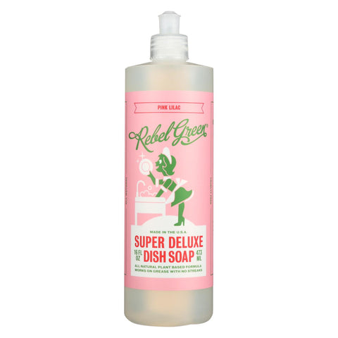 Rebel Green - Liquid Dish Soap - Pink Lilac - Case Of 4 - 16 Oz.