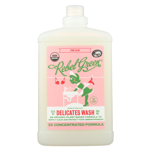 Rebel Green - Laundry Detergent Delicates Wash - Pink Lilac - Case Of 4 - 32 Fl Oz.