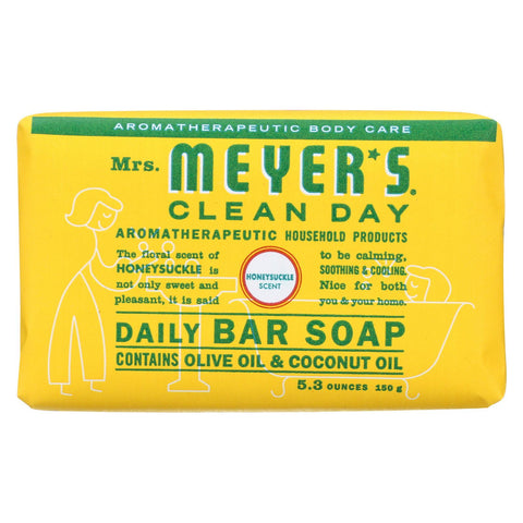 Mrs.meyers Clean Day Bar Soap - Honeysuckle - Case Of 12 - 5.3 Oz