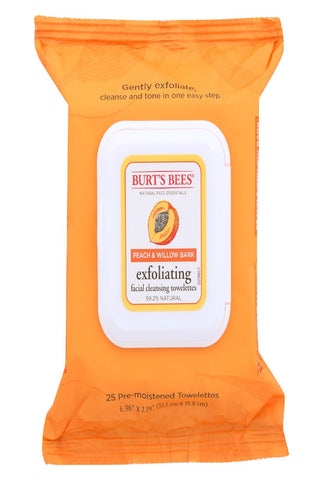 Burts Bees Face Towelette - Peach And Willowbark - Case Of 4 - 1 Ea