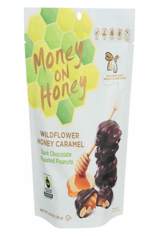 Money On Honey Dark Chocolate - Roasted Peanut - Case Of 6 - 4.8 Oz