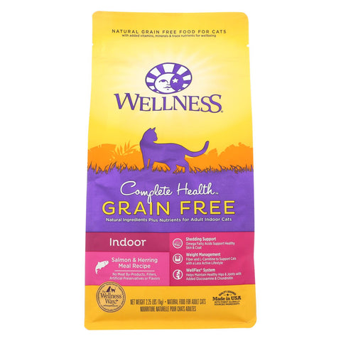 Wellness Pet Products - Cat Dry Indoor Slmn Herrg - Case Of 6 - 2.25 Lb