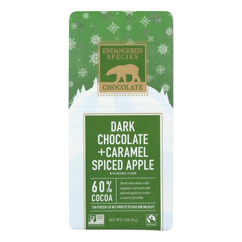 Endangered Species Chocolate Polar Bear, Dark Chocolate W-caramel & Spiced Apple  - Case Of 12 - 3 Oz