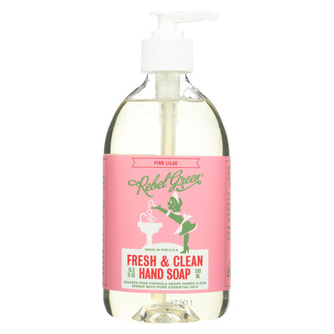 Rebel Green - Fresh And Clean Liquid Hand Soap - Pink Lilac - Case Of 4 - 16.9 Fl Oz.