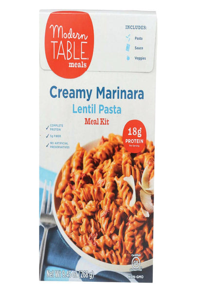 Modern Table Lentil Pasta - Meal Kit - Cream Marinara - Case Of 6 - 9.45 Oz