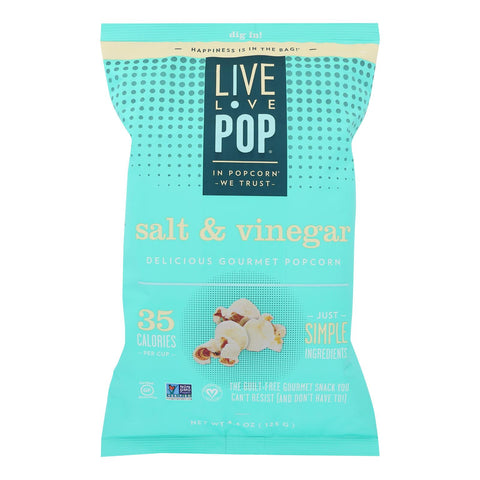 Live Love Pop - Popcorn Salt & Vinegar - Case Of 12 - 4.4 Oz