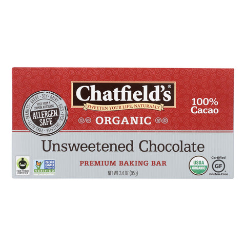 Chatfield's Baking Bar - Organic - Unsweetened Chocolate - Case Of 40 - 3.4 Oz