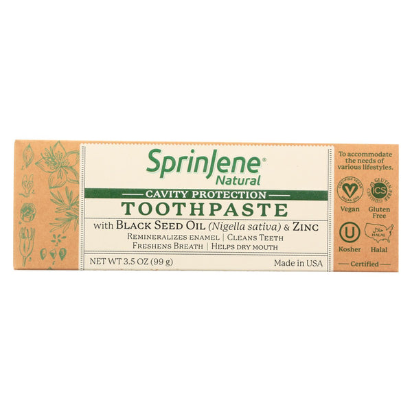 Sprinjene Natural Toothpaste - With Floride - 3.5 Oz