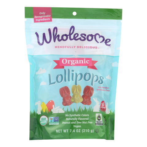 Wholesome™ Lemon, Strawberry & Watermelon Organic Lollipops, Lemon, Strawberry & Watermelon - Case Of 12 - 7.4 Oz