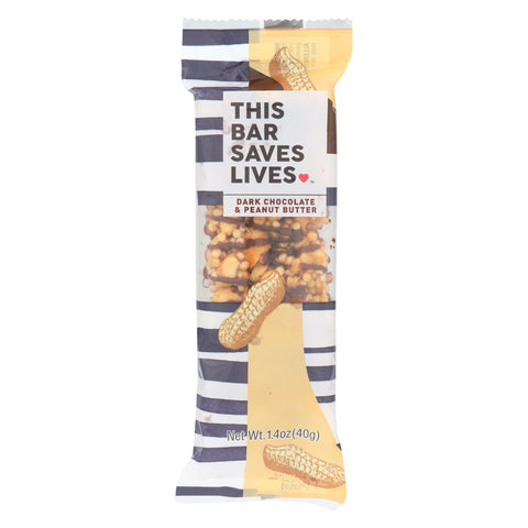 This Bar Saves Lives - Bar Peanut Butter Dark Chocolate - Case Of 12 - 1.4 Oz.