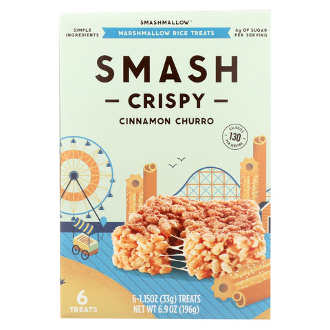 Smashmallow Marshmallow Rice Treats - Smashcrispy Cinnamon Churro - Case Of 8 - 6-1.15 Oz