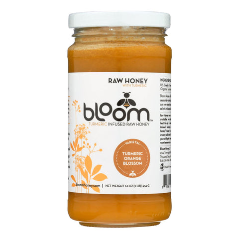 Bloom Honey - Honey - Turmeric Infused Orange Blossom - Case Of 6 - 16 Oz.