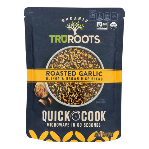 Truroots Organic Roasted Garlic Quinoa & Brown Rice Blend, Roasted Garlic - Case Of 8 - 8.5 Oz