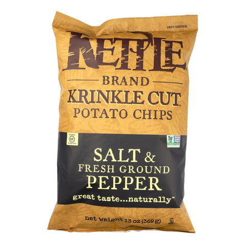 Kettle Brand Salt & Pepper Krinkle Cut Potato Chips  - Case Of 9 - 13 Oz
