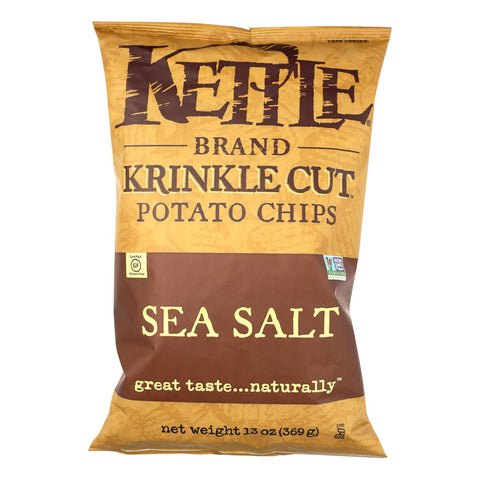 Kettle Brand Sea Salt Krinkle Cut Potato Chips  - Case Of 9 - 13 Oz