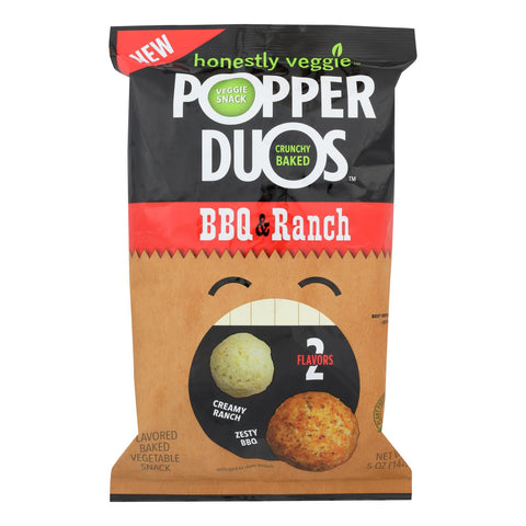 Honestly Veggie Popper Duos - Pepper Duo Bbq And Ranch - Case Of 6 - 5 Oz