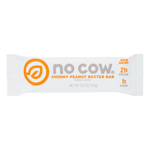 No Cow Bar Chunky Peanut Butter Bar - Case Of 12 - 2.12 Oz