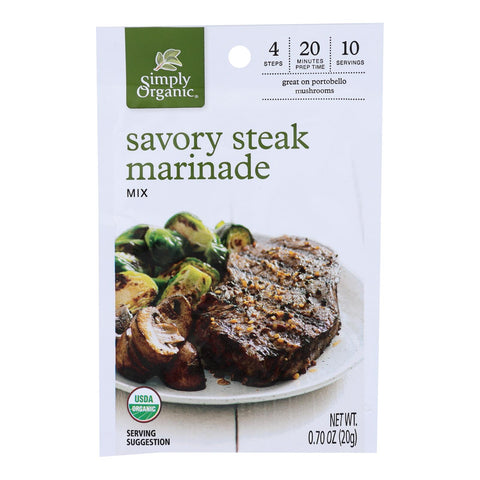 Simply Organic - Marinade.og2.savory Steak - Case Of 12 - 0.70 Oz