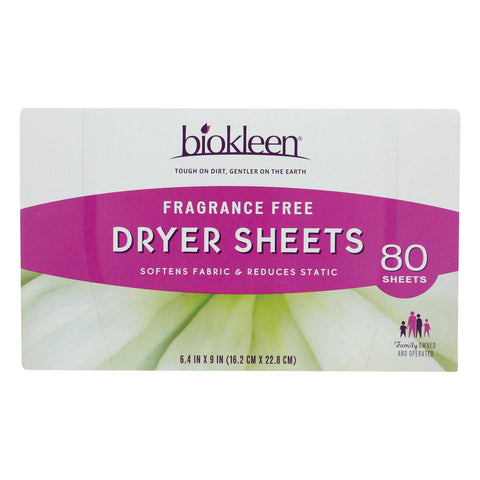 Biokleen - Dryer Sheets Free & Clear - Case Of 6 - 80 Ct